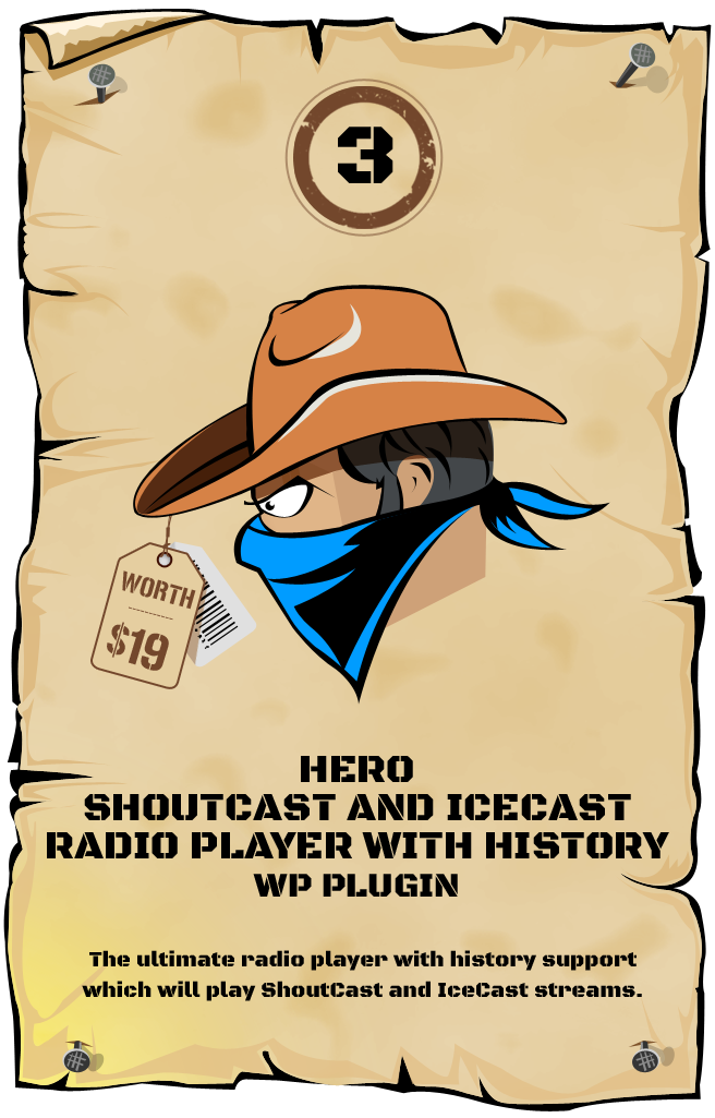 Hero - Shoutcast and Icecast Radio Player With History - WordPress Plugin