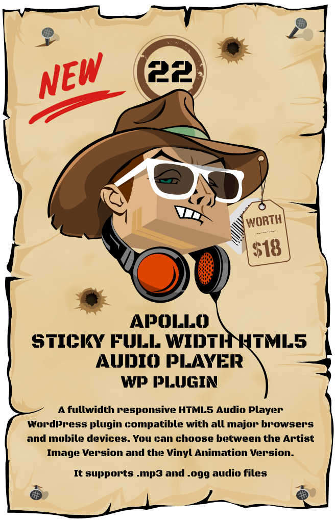 Apollo – Sticky Full Width HTML5 Audio Player WordPress Plugin