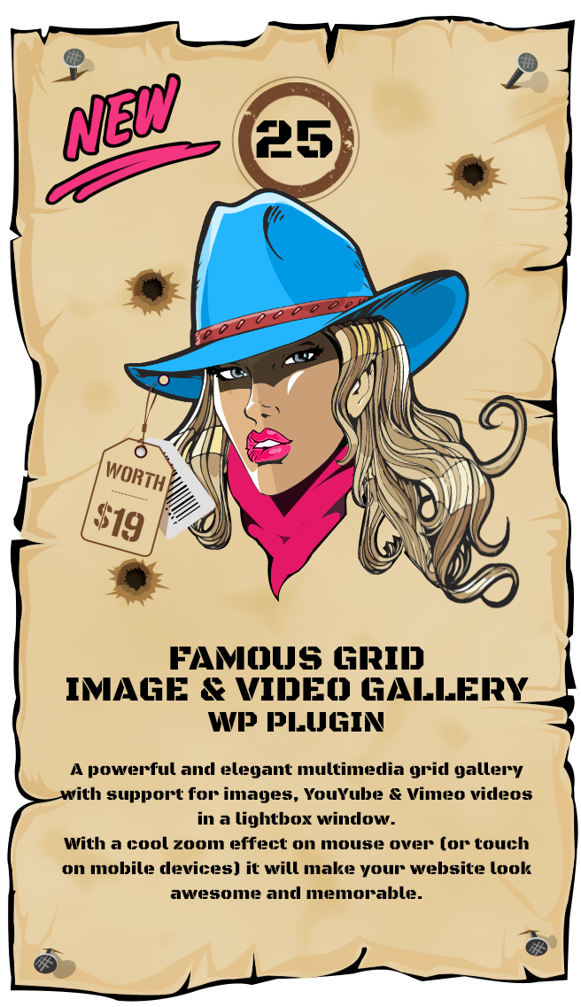 Famous Grid Gallery WordPress Plugin - an elegant multimedia grid gallery with support for images, YouYube & Vimeo videos in a lightbox window